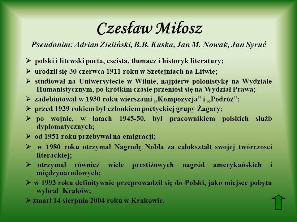 Czesław Miłosz Pseudonim: Adrian Zieliński, B. B. Kuska, Jan M