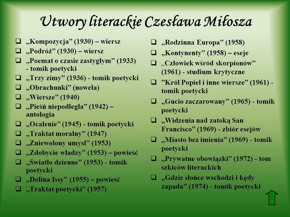 Utwory literackie Czesława Miłosza