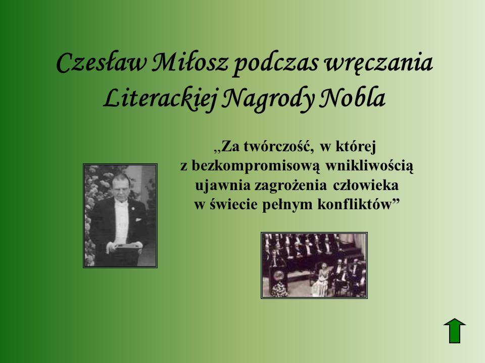 Czesław Miłosz podczas wręczania Literackiej Nagrody Nobla