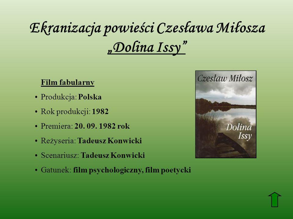 """Ekranizacja powieści Czesława Miłosza """"Dolina Issy"""