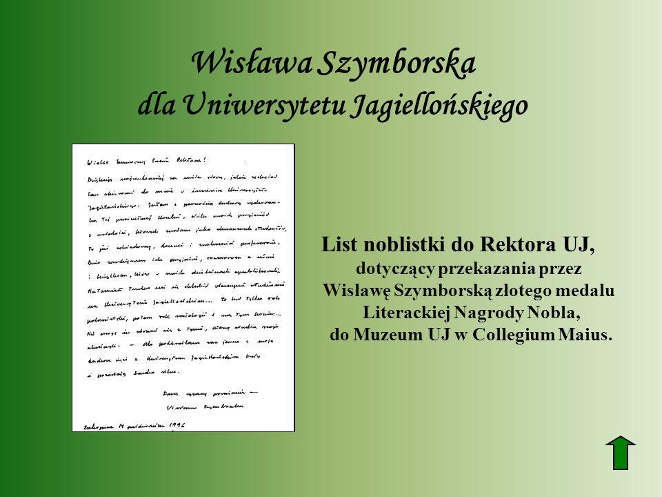 Wisława Szymborska dla Uniwersytetu Jagiellońskiego