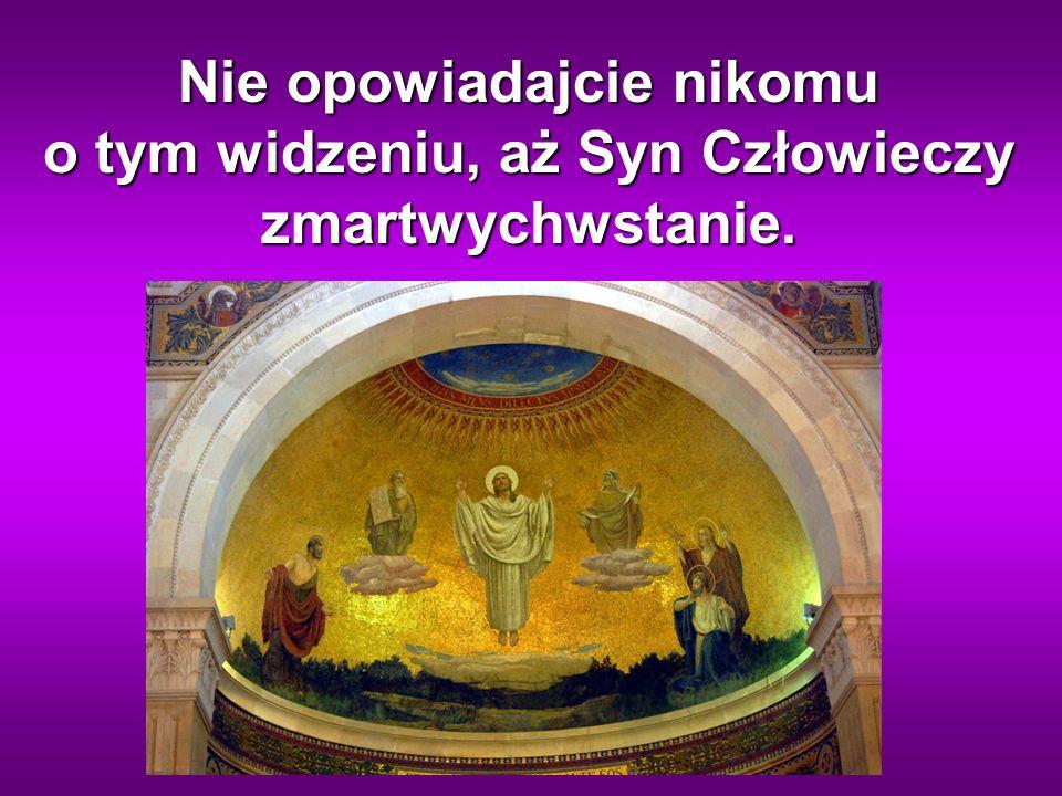 Nie opowiadajcie nikomu o tym widzeniu, aż Syn Człowieczy zmartwychwstanie.