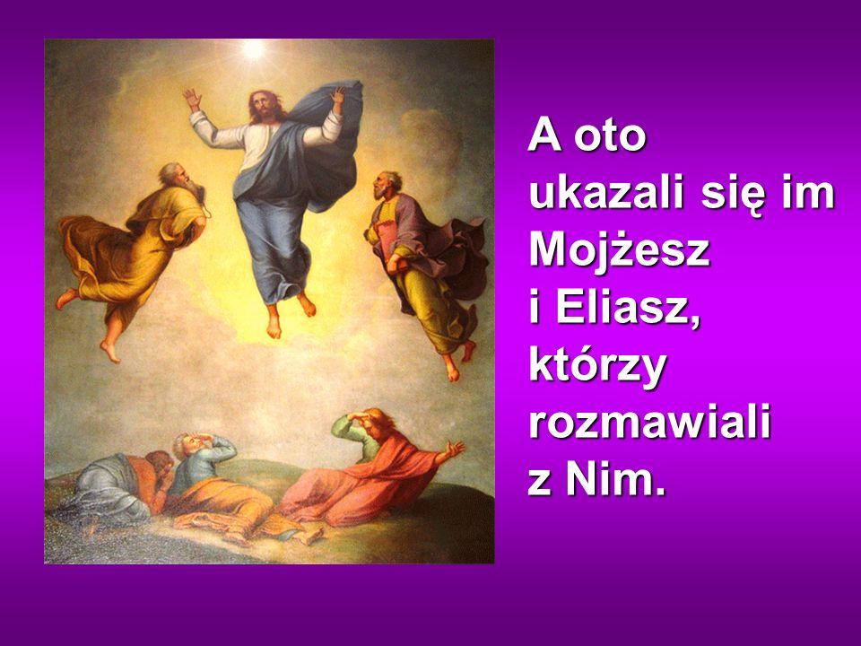 A oto ukazali się im Mojżesz i Eliasz, którzy rozmawiali z Nim.