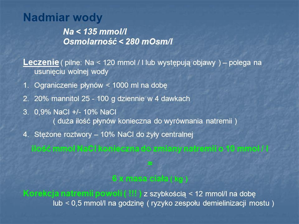 ilość mmol NaCl konieczna do zmiany natremii o 10 mmol / l