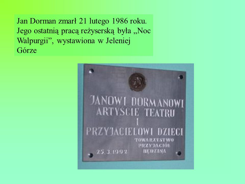 Jan Dorman zmarł 21 lutego 1986 roku