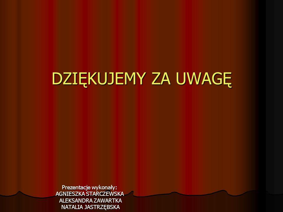 DZIĘKUJEMY ZA UWAGĘ Prezentacje wykonały: AGNIESZKA STARCZEWSKA
