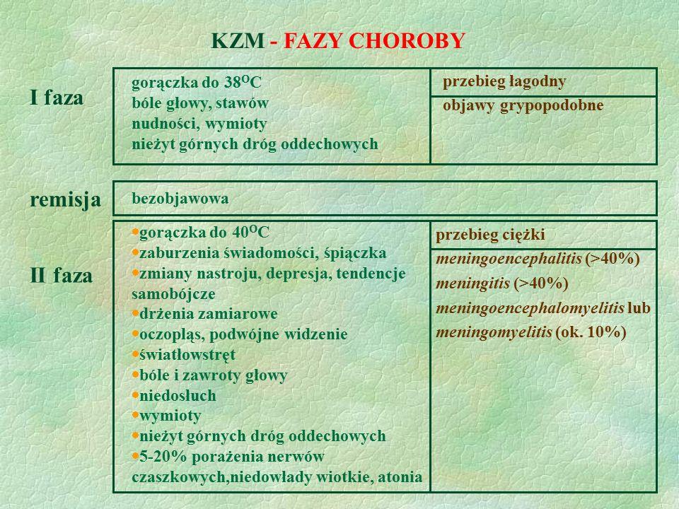 KZM - FAZY CHOROBY I faza remisja II faza gorączka do 38OC
