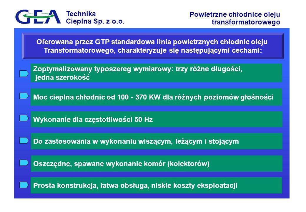 Oferowana przez GTP standardowa linia powietrznych chłodnic oleju