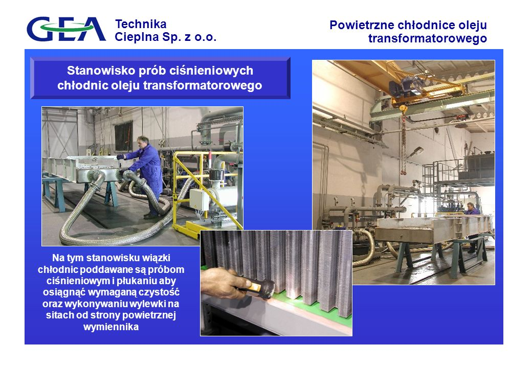 Stanowisko prób ciśnieniowych chłodnic oleju transformatorowego