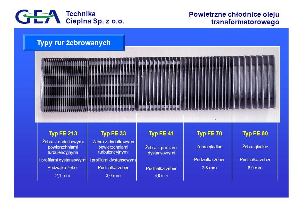 Typy rur żebrowanych Typ FE 213 Typ FE 33 Typ FE 41 Typ FE 70