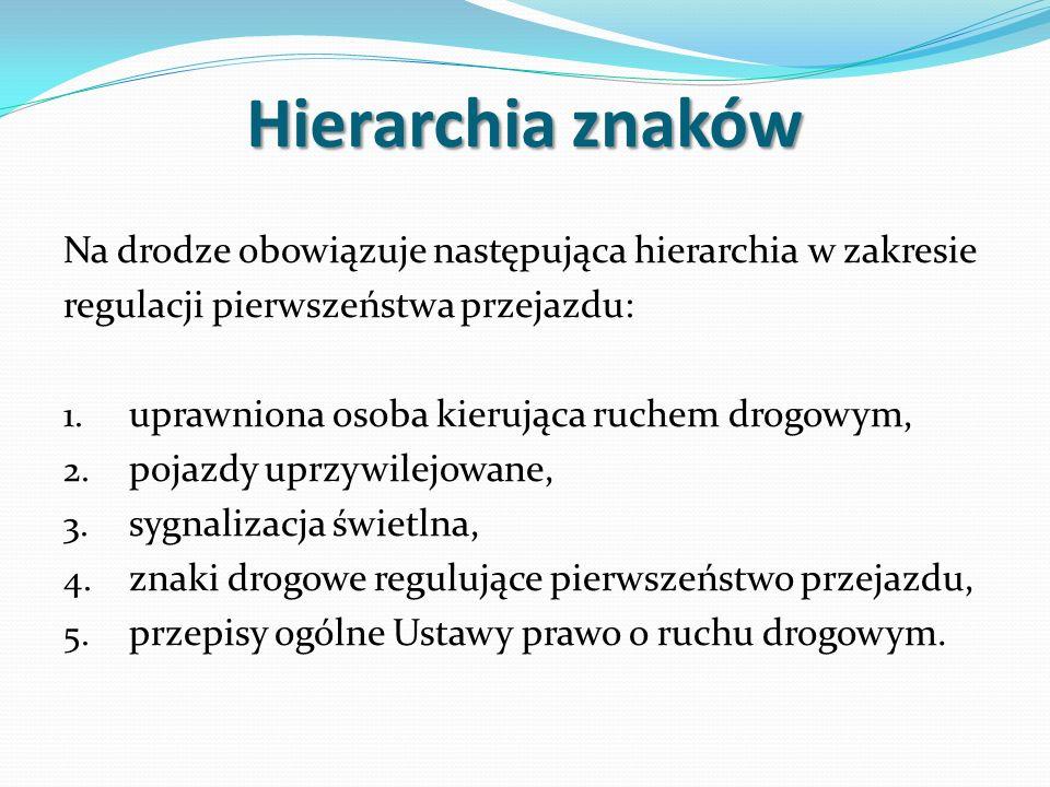 Hierarchia znaków Na drodze obowiązuje następująca hierarchia w zakresie. regulacji pierwszeństwa przejazdu: