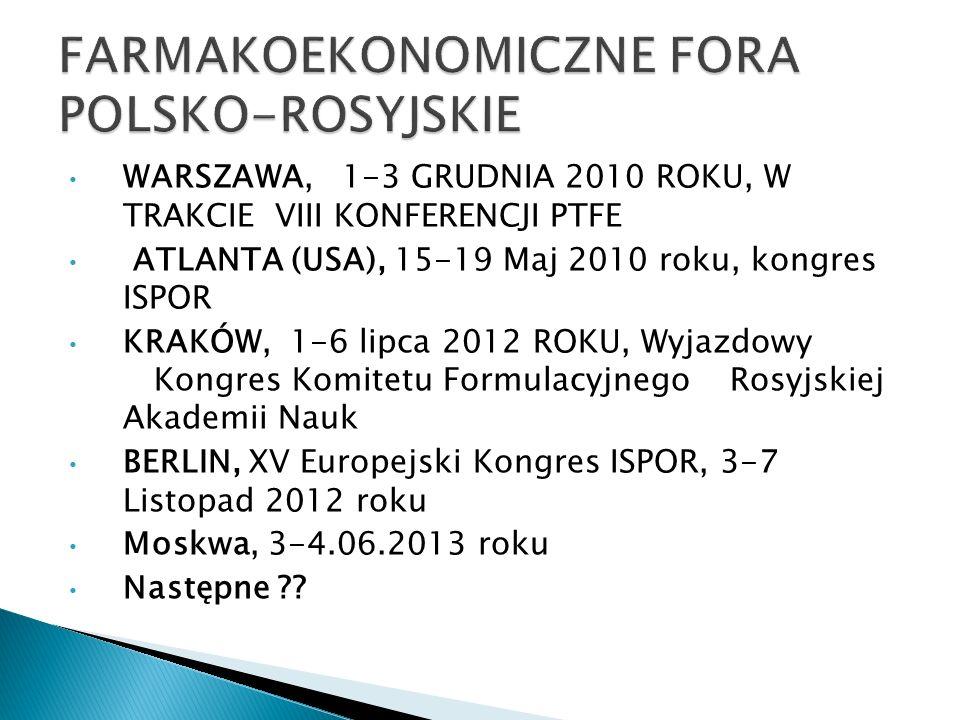 FARMAKOEKONOMICZNE FORA POLSKO-ROSYJSKIE