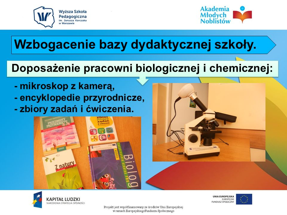 Doposażenie pracowni biologicznej i chemicznej:
