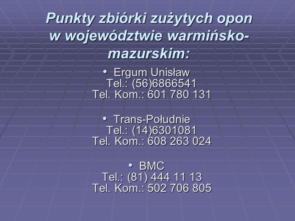 Punkty zbiórki zużytych opon w województwie warmińsko-mazurskim: