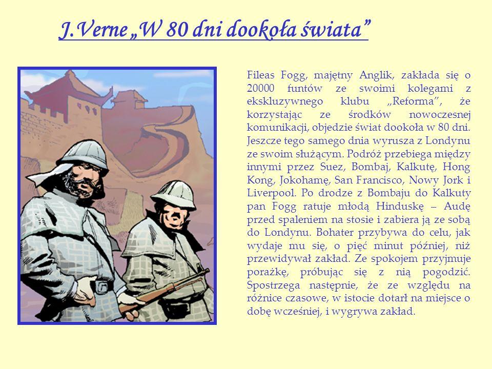 """J.Verne """"W 80 dni dookoła świata"""