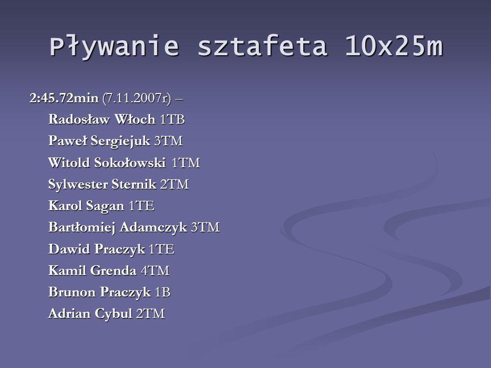 Pływanie sztafeta 10x25m 2:45.72min (7.11.2007r) – Radosław Włoch 1TB