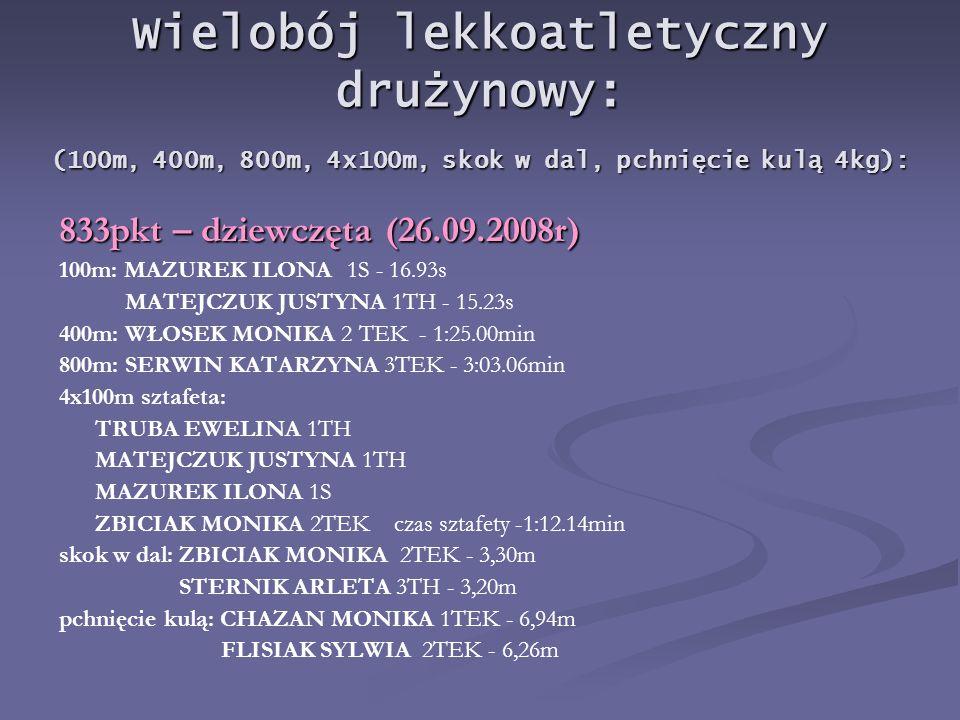 Wielobój lekkoatletyczny drużynowy: (100m, 400m, 800m, 4x100m, skok w dal, pchnięcie kulą 4kg):