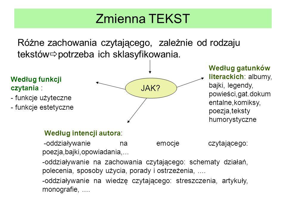 Zmienna TEKST Różne zachowania czytającego, zależnie od rodzaju tekstówpotrzeba ich sklasyfikowania.