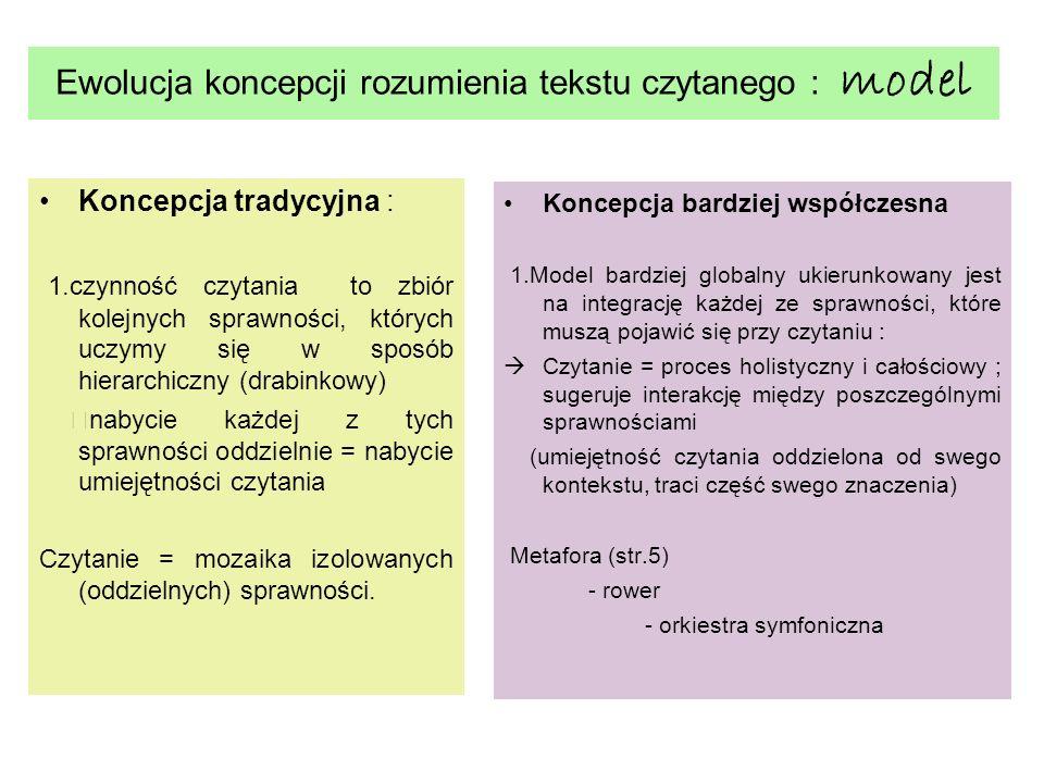 Ewolucja koncepcji rozumienia tekstu czytanego : model