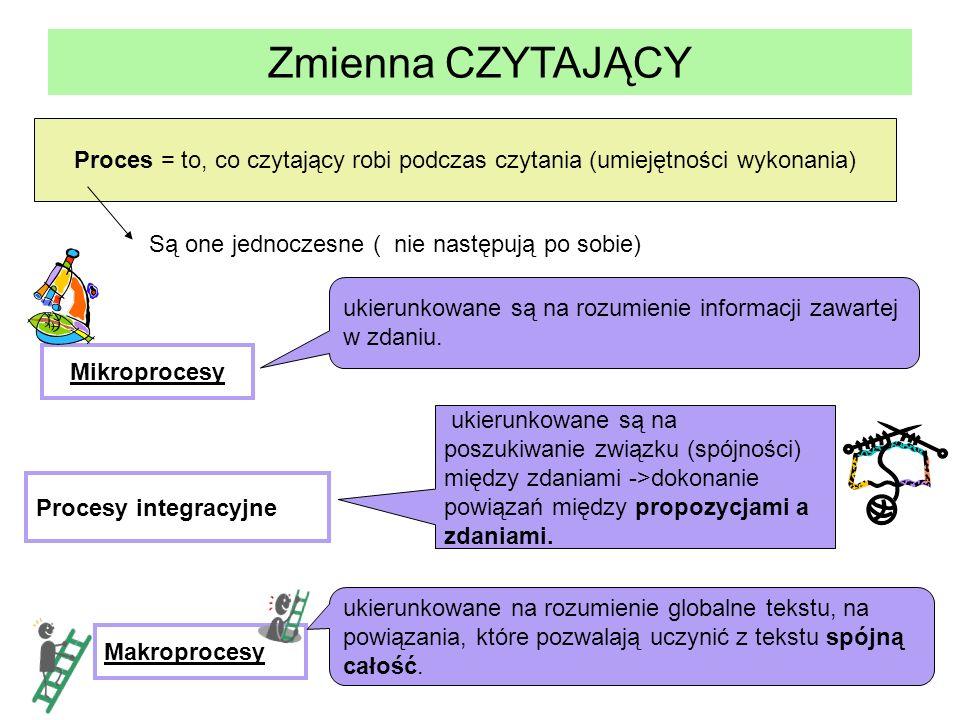 Zmienna CZYTAJĄCY Proces = to, co czytający robi podczas czytania (umiejętności wykonania) Są one jednoczesne ( nie następują po sobie)
