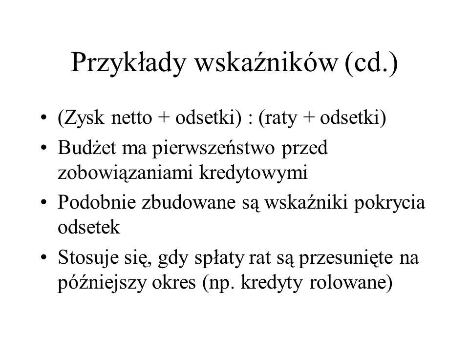 Przykłady wskaźników (cd.)
