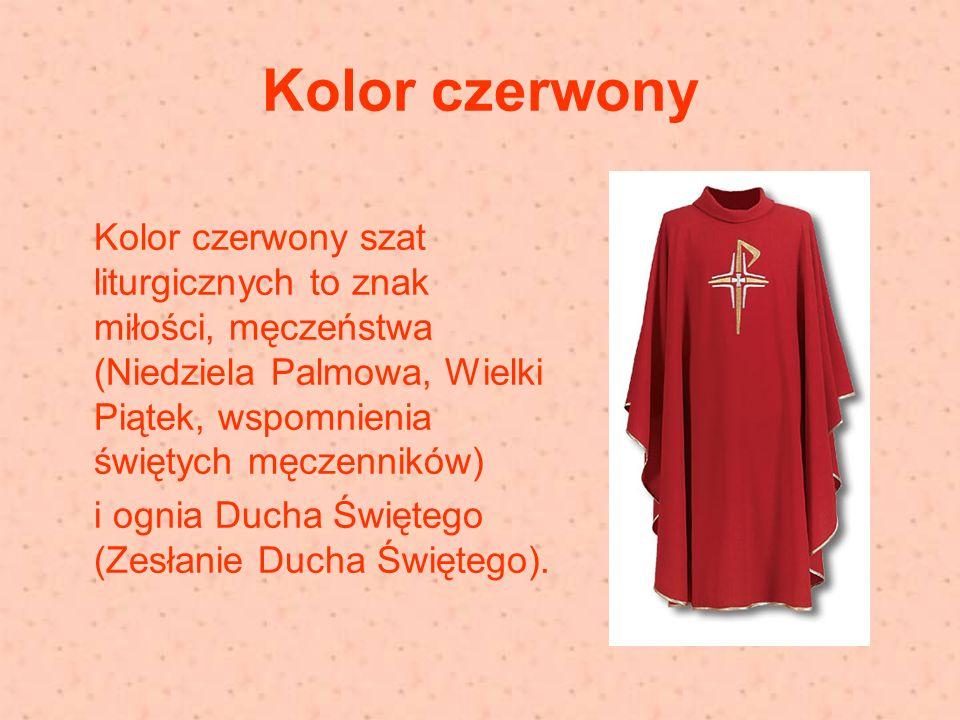 Kolor czerwony Kolor czerwony szat liturgicznych to znak miłości, męczeństwa (Niedziela Palmowa, Wielki Piątek, wspomnienia świętych męczenników)