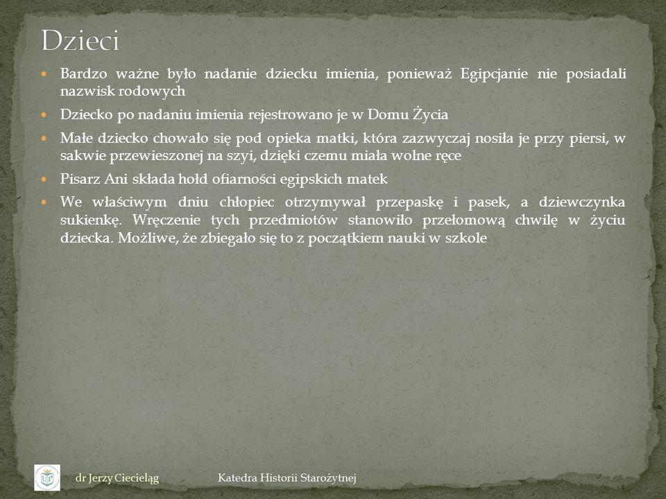 DzieciBardzo ważne było nadanie dziecku imienia, ponieważ Egipcjanie nie posiadali nazwisk rodowych.