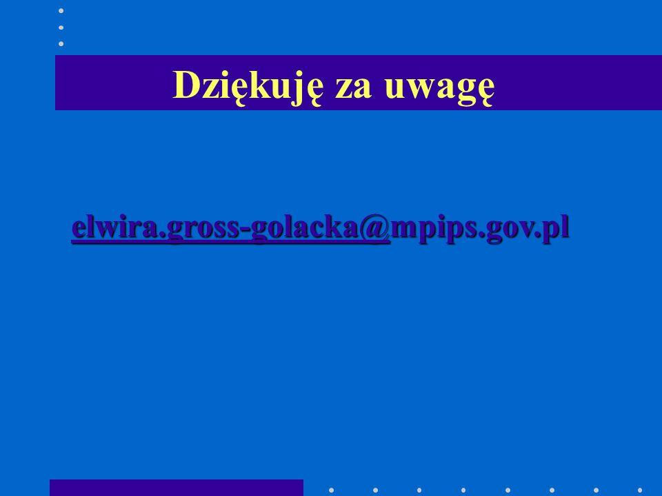 Dziękuję za uwagę elwira.gross-golacka@mpips.gov.pl
