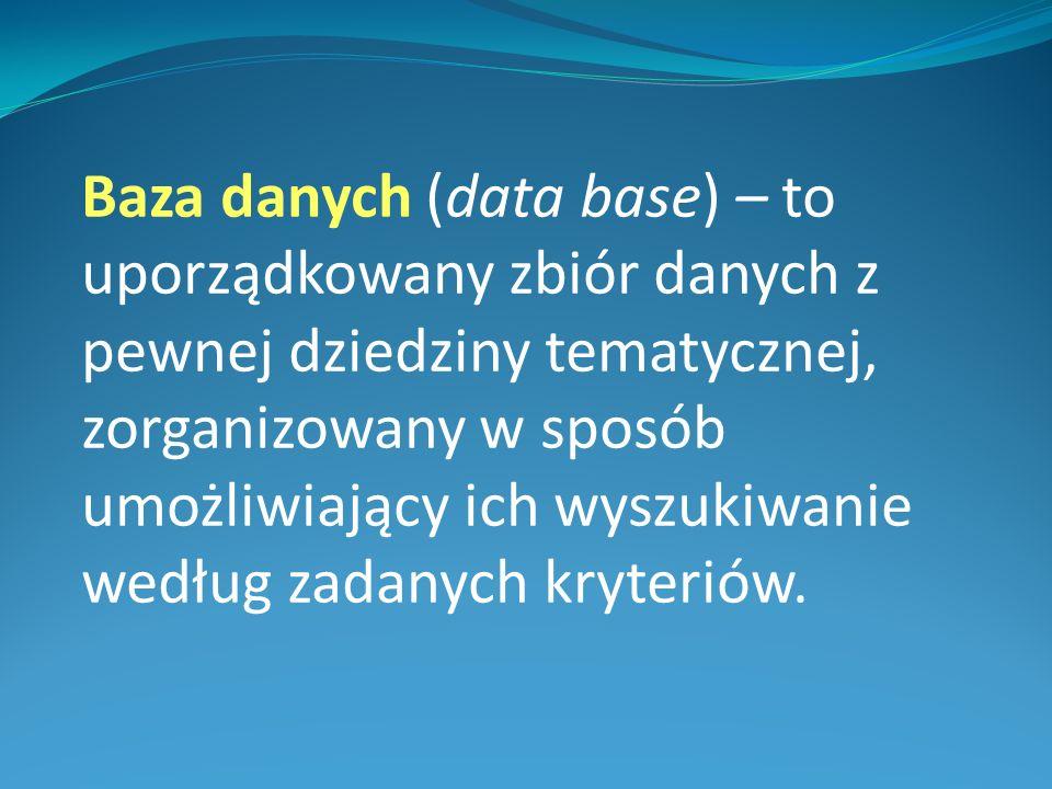Baza danych (data base) – to uporządkowany zbiór danych z pewnej dziedziny tematycznej, zorganizowany w sposób umożliwiający ich wyszukiwanie według zadanych kryteriów.