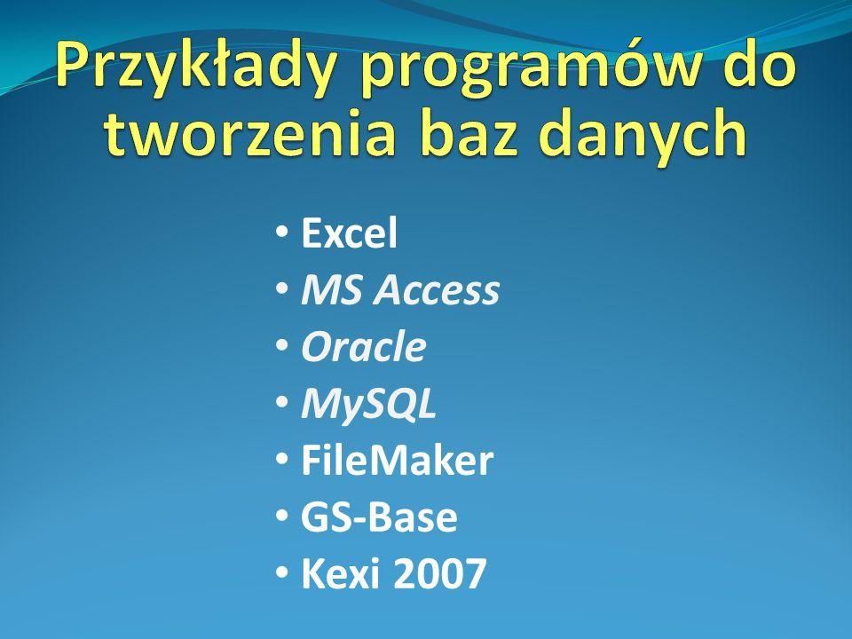 Przykłady programów do tworzenia baz danych