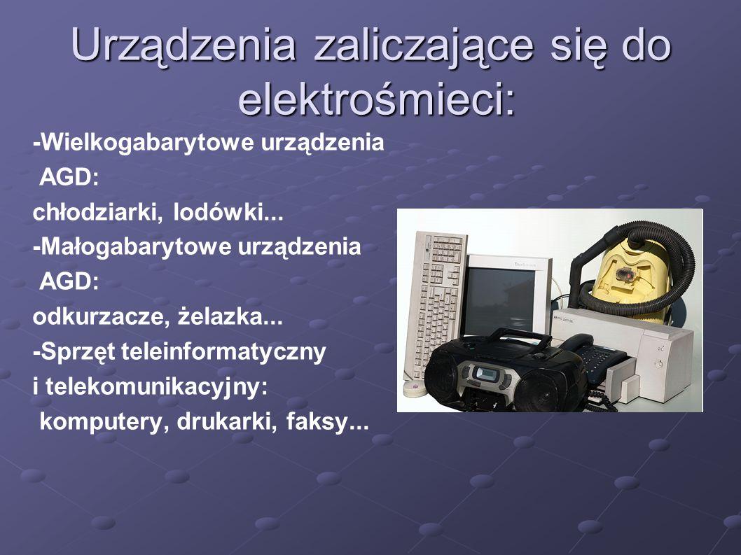 Urządzenia zaliczające się do elektrośmieci: