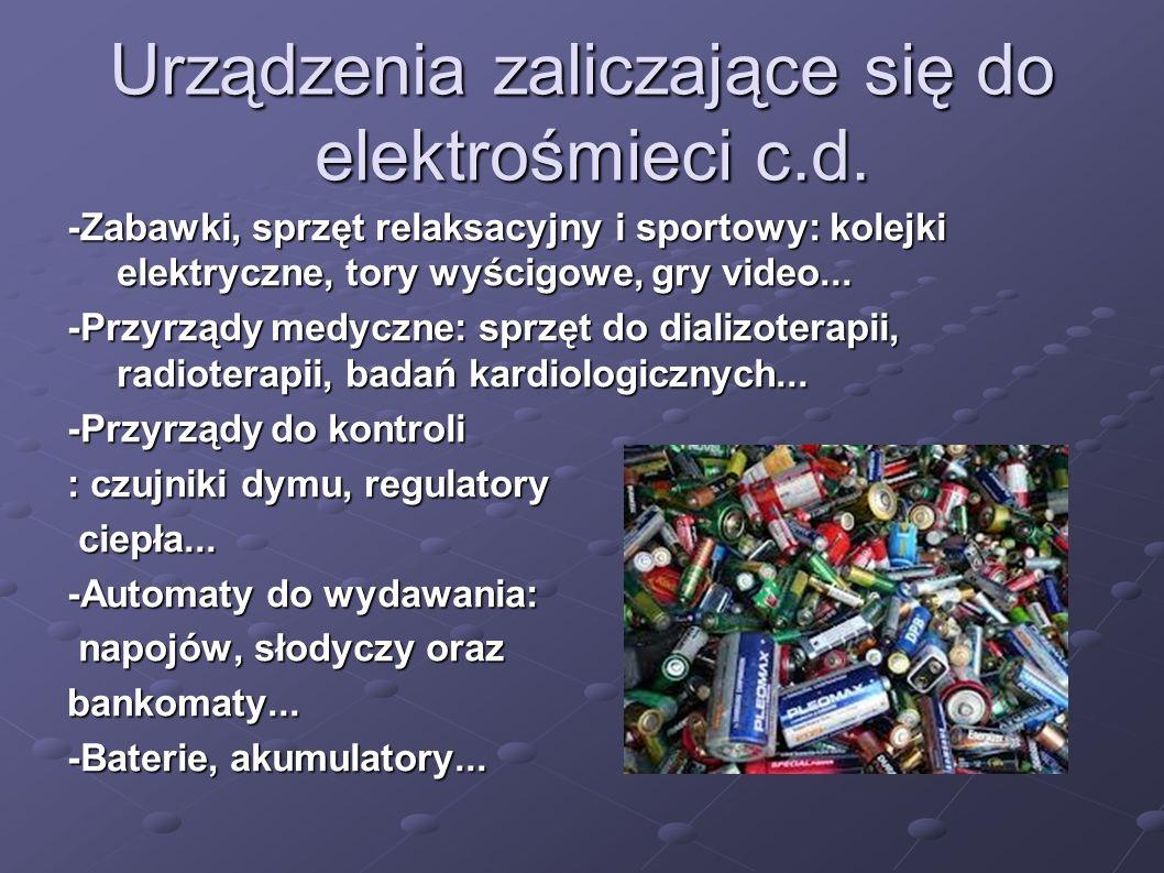 Urządzenia zaliczające się do elektrośmieci c.d.