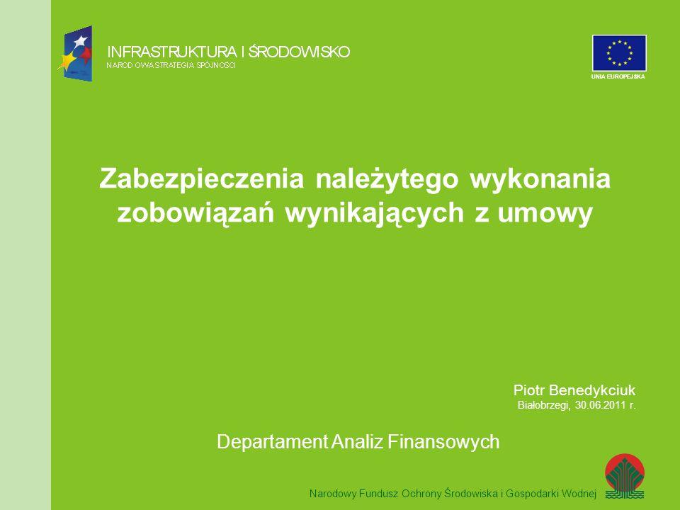 Zabezpieczenia należytego wykonania zobowiązań wynikających z umowy