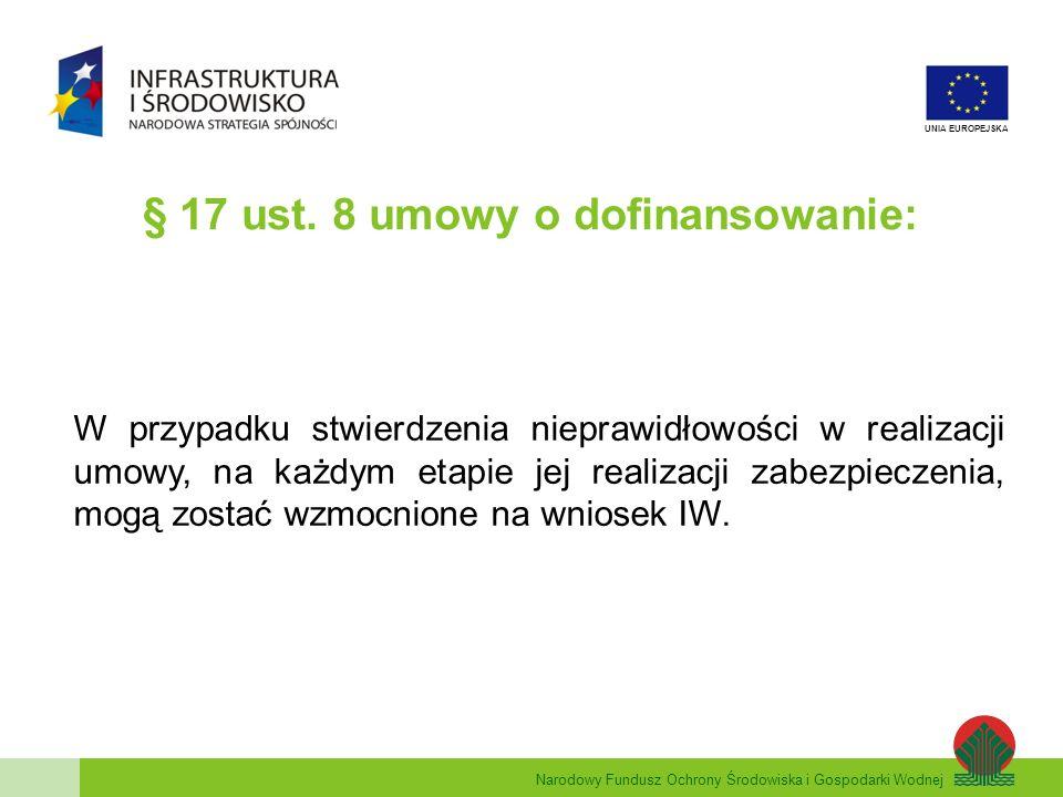 § 17 ust. 8 umowy o dofinansowanie: