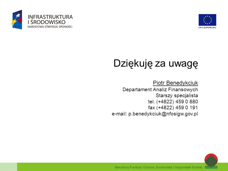 Dziękuję za uwagę Piotr Benedykciuk Departament Analiz Finansowych