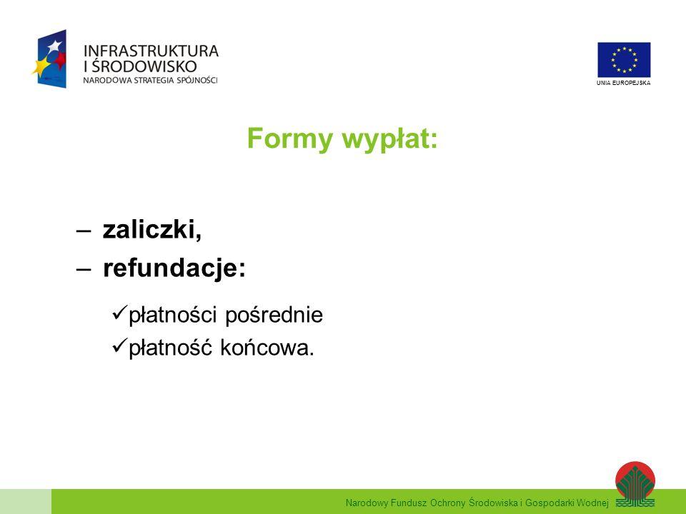 zaliczki, refundacje: płatności pośrednie płatność końcowa.