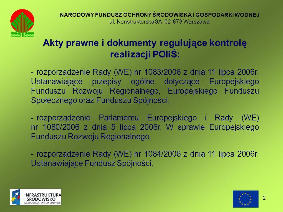 Akty prawne i dokumenty regulujące kontrolę realizacji POIiŚ: