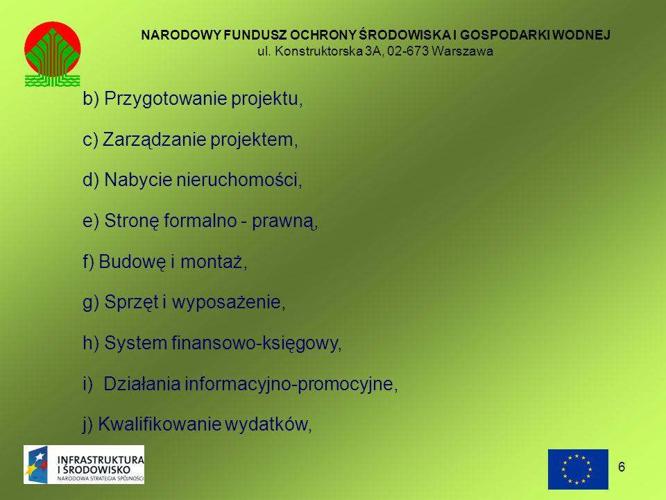 b) Przygotowanie projektu, c) Zarządzanie projektem,