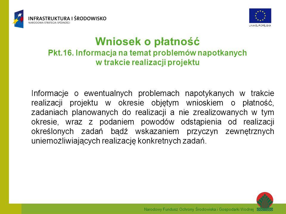 Wniosek o płatność Pkt.16. Informacja na temat problemów napotkanych w trakcie realizacji projektu.