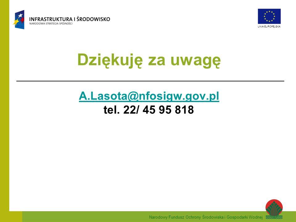Dziękuję za uwagę A.Lasota@nfosigw.gov.pl tel. 22/ 45 95 818