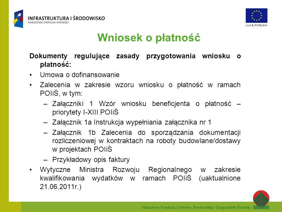 Wniosek o płatność Dokumenty regulujące zasady przygotowania wniosku o płatność: Umowa o dofinansowanie.