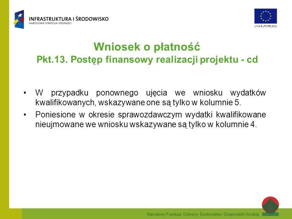 Pkt.13. Postęp finansowy realizacji projektu - cd