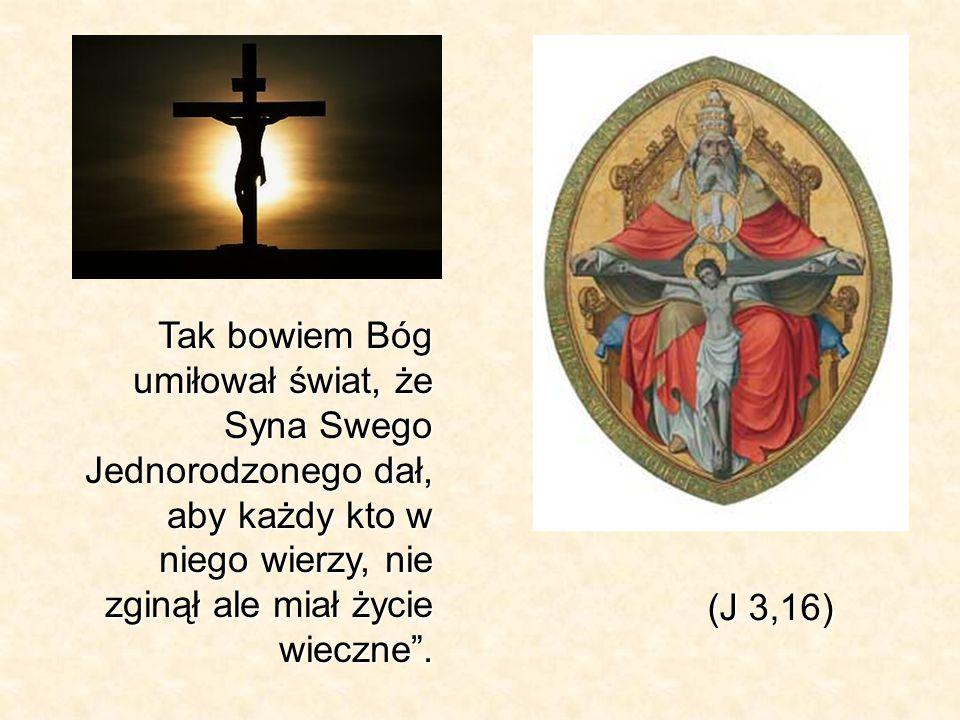 Tak bowiem Bóg umiłował świat, że Syna Swego Jednorodzonego dał, aby każdy kto w niego wierzy, nie zginął ale miał życie wieczne .