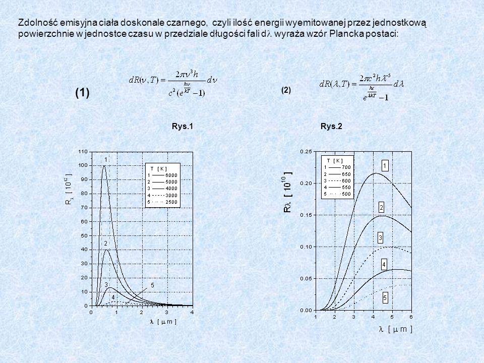 Zdolność emisyjna ciała doskonale czarnego, czyli ilość energii wyemitowanej przez jednostkową powierzchnie w jednostce czasu w przedziale długości fali d wyraża wzór Plancka postaci: