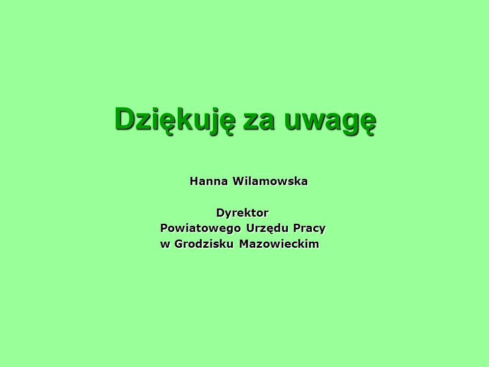 Dziękuję za uwagę Hanna Wilamowska Dyrektor Powiatowego Urzędu Pracy