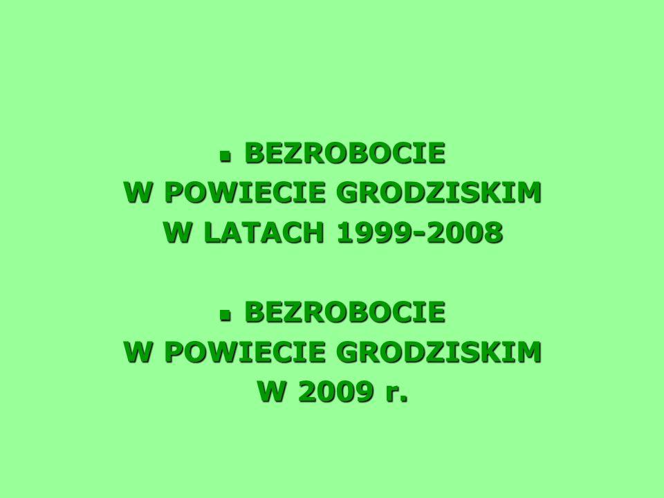 BEZROBOCIE W POWIECIE GRODZISKIM W LATACH 1999-2008 W 2009 r.