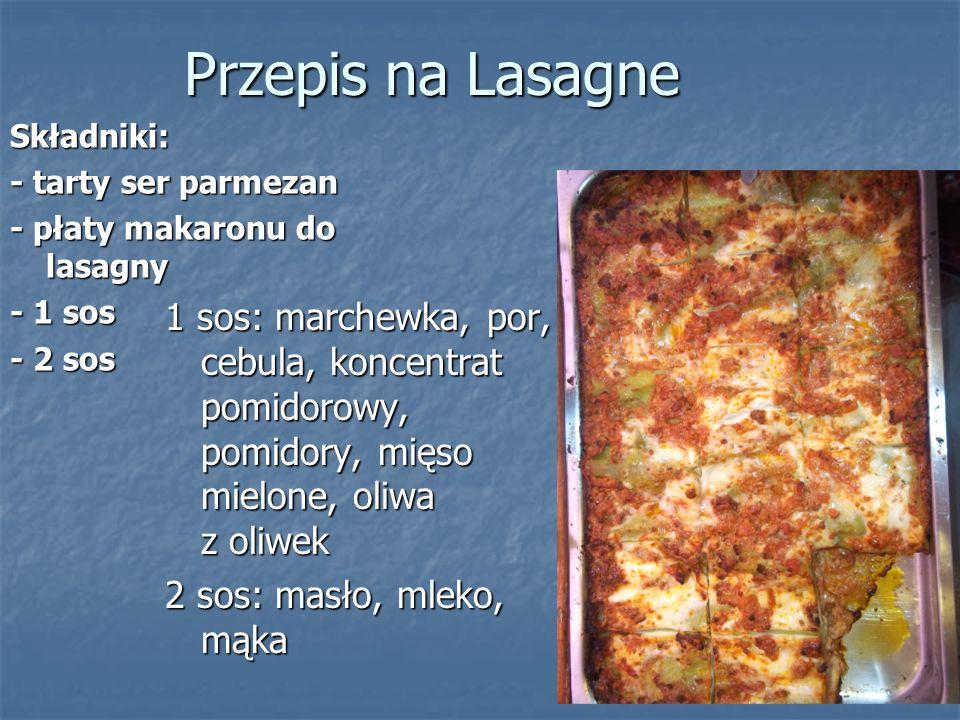 Przepis na Lasagne Składniki: - tarty ser parmezan. - płaty makaronu do lasagny. - 1 sos. - 2 sos.