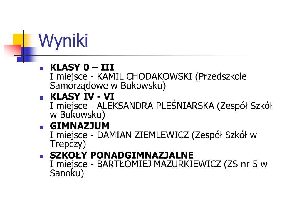 Wyniki KLASY 0 – III I miejsce - KAMIL CHODAKOWSKI (Przedszkole Samorządowe w Bukowsku)