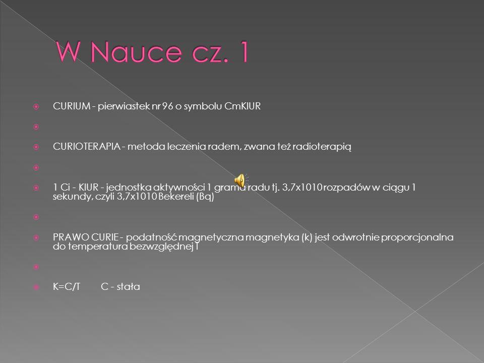 W Nauce cz. 1 CURIUM - pierwiastek nr 96 o symbolu CmKIUR