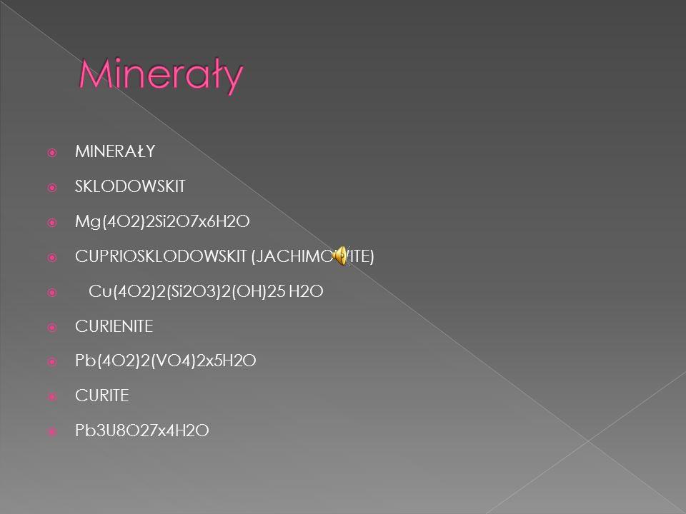 Minerały MINERAŁY SKLODOWSKIT Mg(4O2)2Si2O7x6H2O